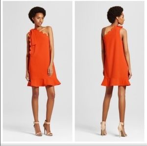 Victoria Beckham for Target orange scalloped dress